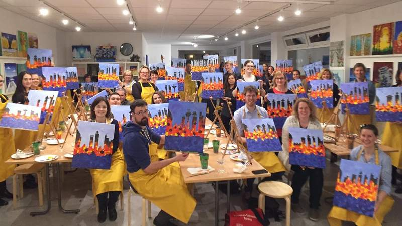 Team Painting by painting Partys in Frankfurt