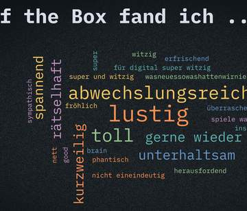 Feedback als Wordwolke zu Out of the Box
