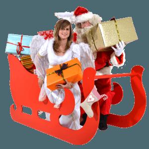Weihnachtsmann mit Weihnachtsengel